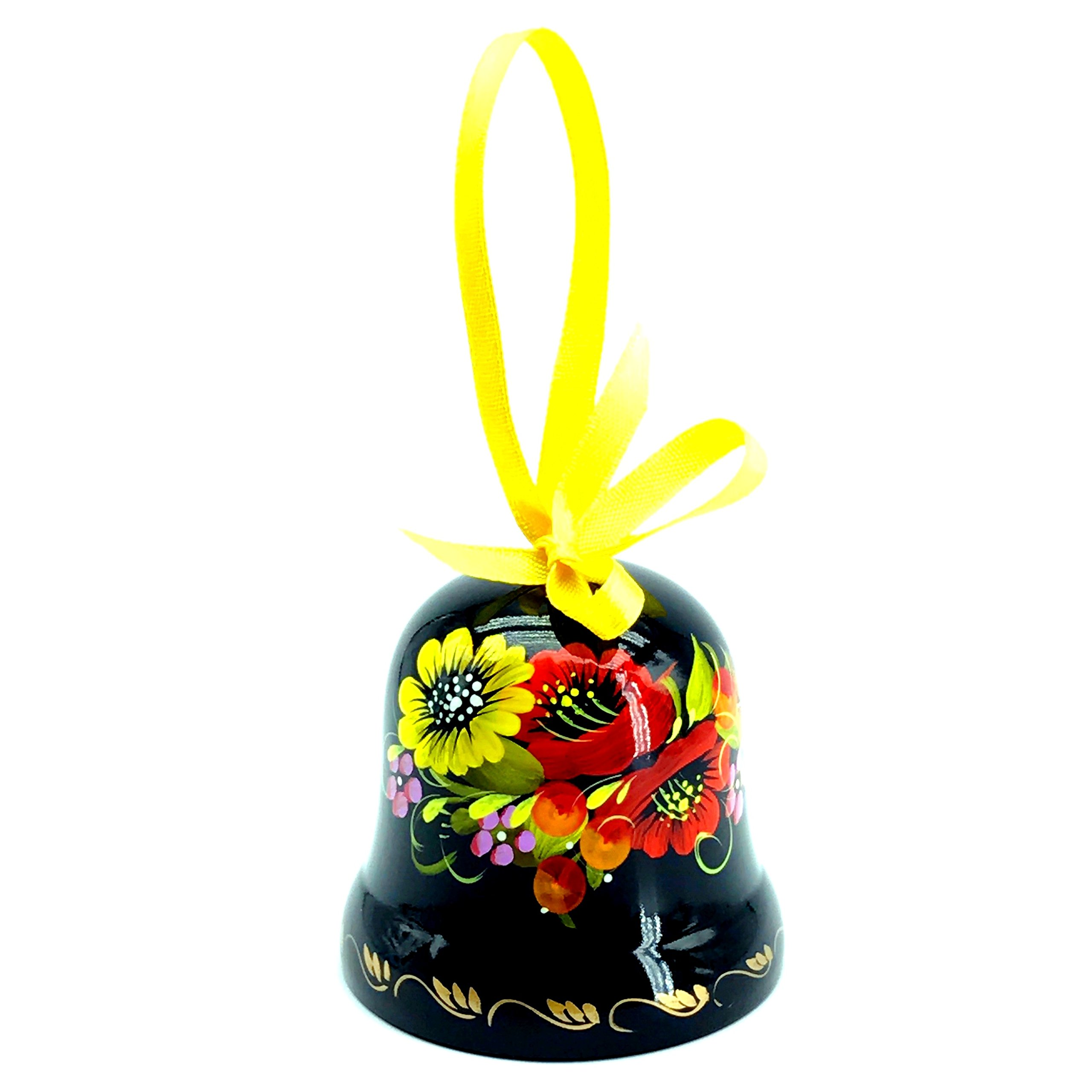 Ukrainian Souvenir Hand Painted Lacquered Wooden Decorative Bell with Ethnic Petrykivka Floral Painting, a Nice Home Decor Accent Item in a Gift Box for Women, Hanging or Desktop (Red and Yellow)
