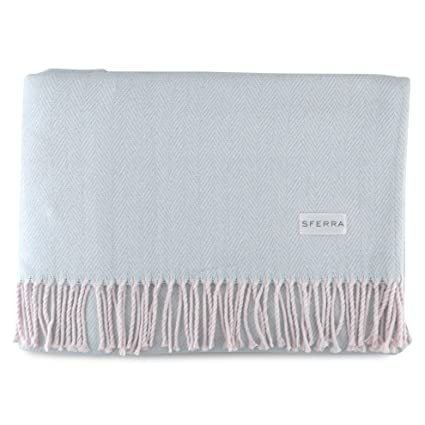 Amazon Sferra Celine Herringbone 40% Cotton Throw Blanket Custom Sferra Throw Blanket