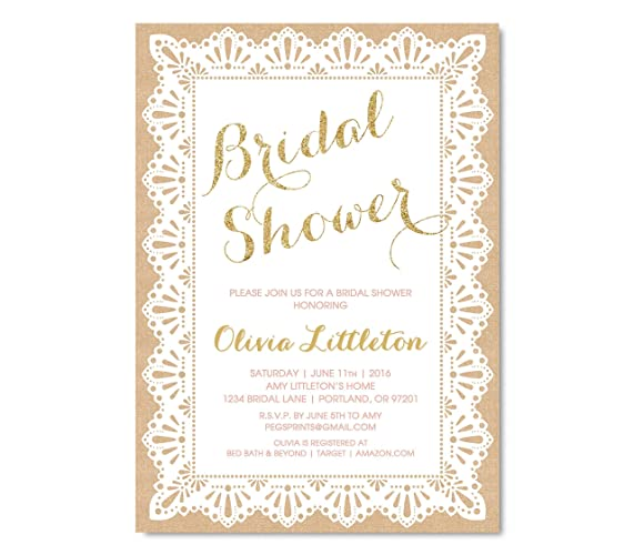 Amazon gold glitter bridal shower invitation gold and pink gold glitter bridal shower invitation gold and pink bridal shower invitations burlap and lace filmwisefo