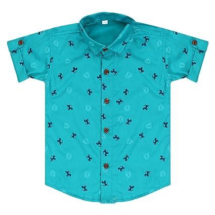 97de0e6ec Superminis Baby Boys Shirt, Kids Shirt, Party Wear Shirt, Horse Printed  Cotton Shirt with Collar, Half Sleeve (Sea Green, 4-5 Years): Amazon.in:  Baby