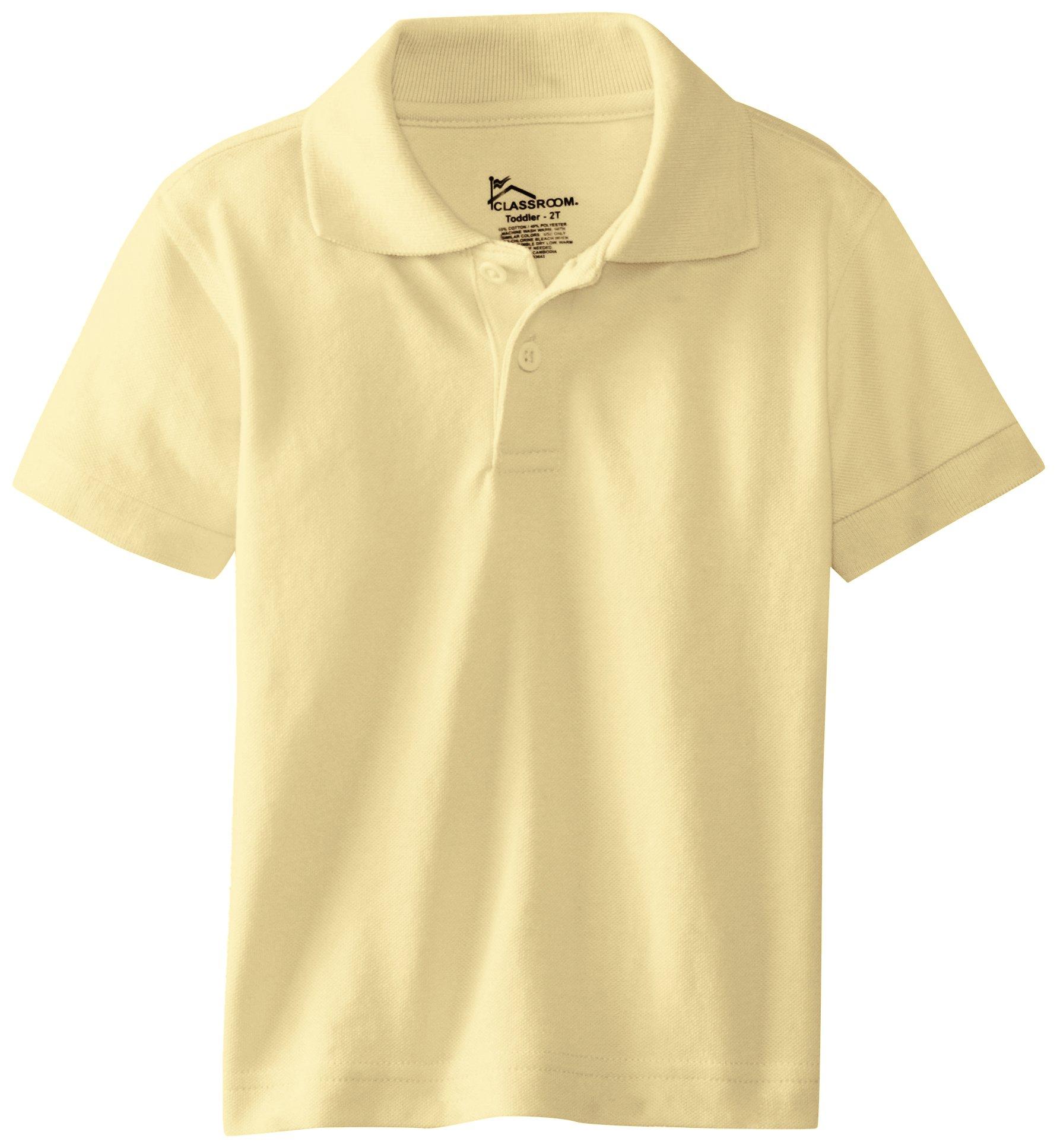 Classroom Little Boys' Toddler Short Sleeve Pique Polo, Yellow, 4T