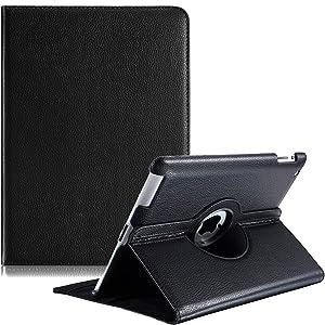 iPad 2/3/4 Case - 360 Degree Rotating Stand Smart Case Protective Cover with Auto Wake Up/Sleep Feature for Apple iPad 4, iPad 3 & iPad 2 (Black)