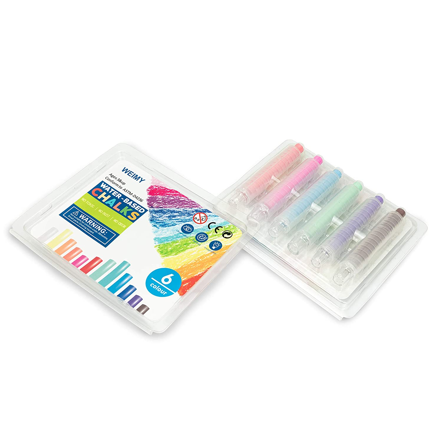 12 colorful WEIMY Dustless Twistable Chalk Non-Toxic Colored Chalk 1.0mm Tip Art Tool for Teachers Kids School Office Drawing Board