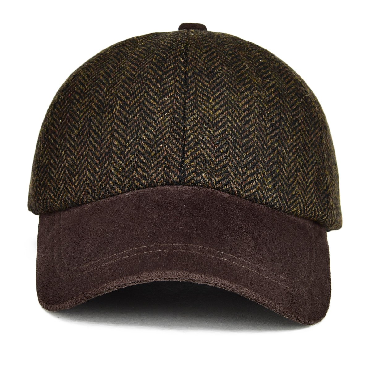 55e0bef3 VOBOOM Men's Wool Blend Baseball Cap Herringbone Tweed Ball Cap Check  Woolen Adjustable Peaked Cap (Coffee) at Amazon Men's Clothing store: