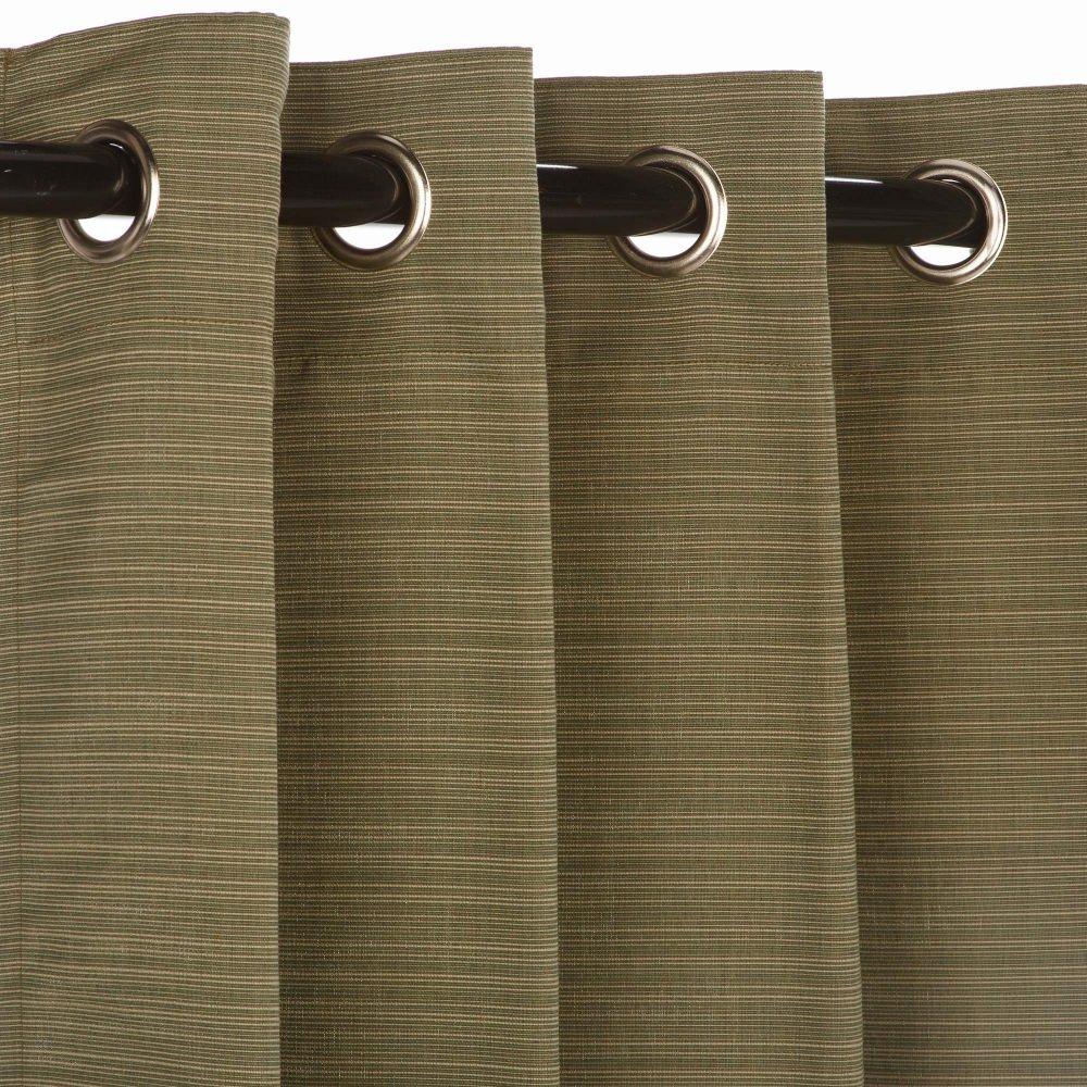 Pawleys Island Hammocks Sunbrella Outdoor Curtain with Nickle Grommets - Dupione Laurel 50x96 by Pawley's Island
