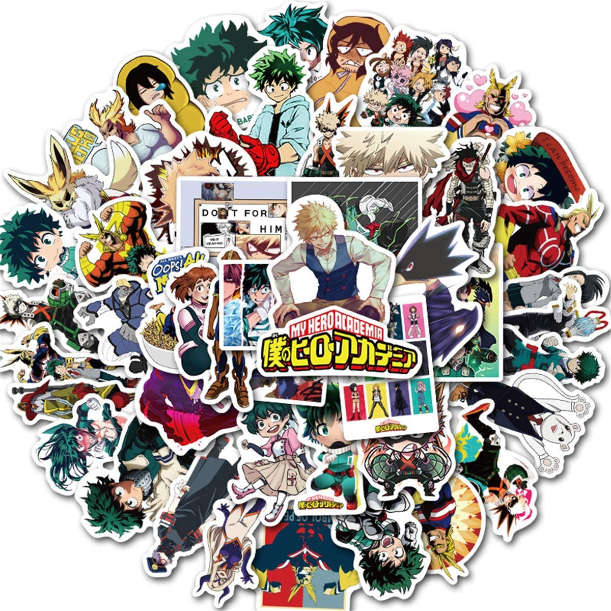 50PCS Mixed Different My Hero Academia Stickers Network Popular Meme Anime Cartoon Sticker for Kids Laptop Skateboard Toy Stickers (My Hero Academia)