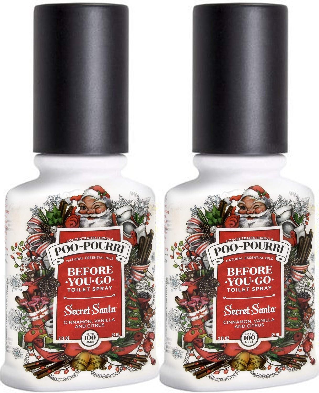 Poo-Pourri Secret Santa Before You Go Spray 2 Pack, 2 Ounce (2 Count), White, 4 Fl Oz