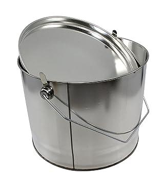 Agua Rose® Cubo de chapa de blanco para 5 kg neta con tapa y asa: Amazon.es: Jardín