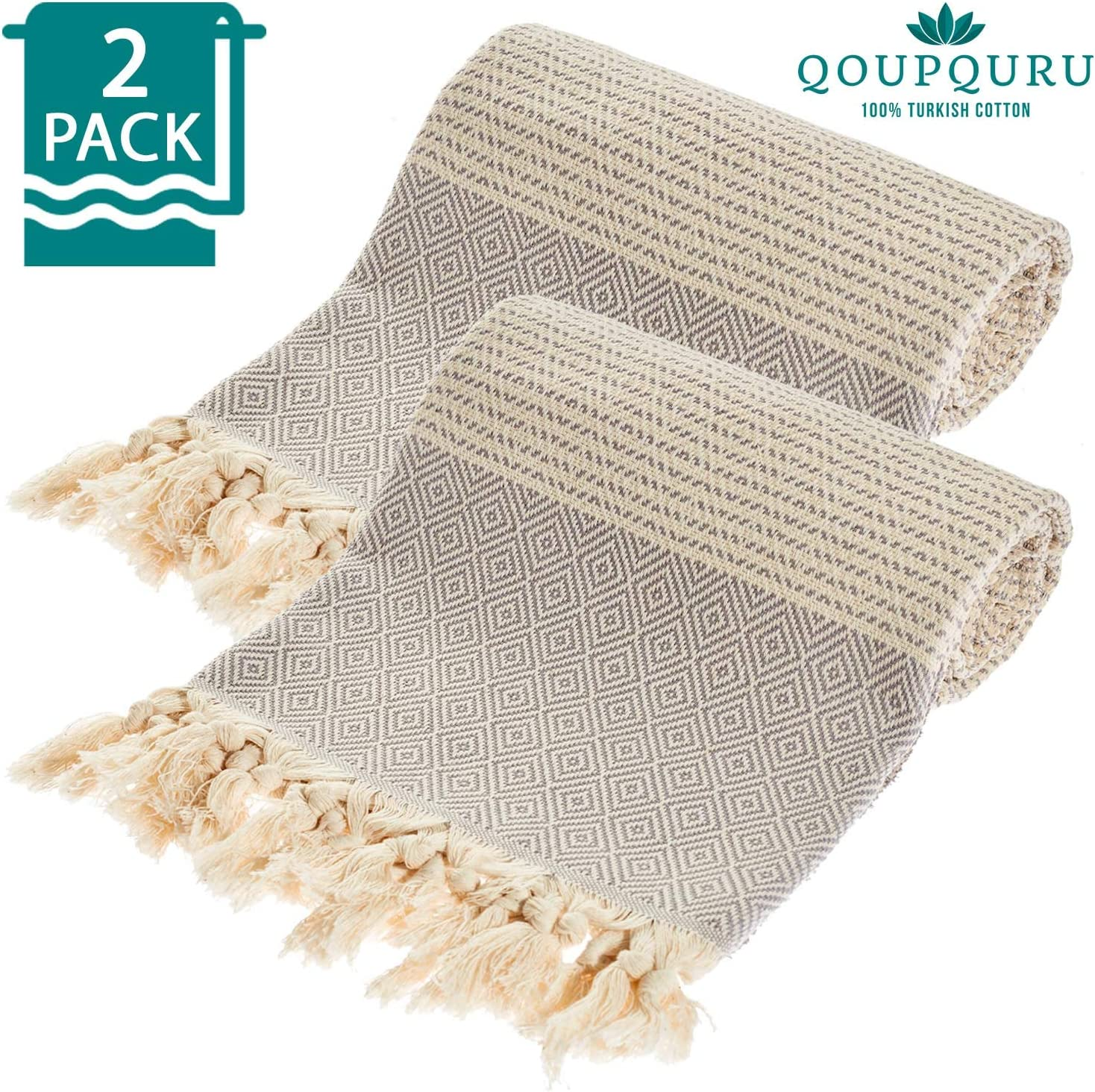 QoupQuru Turkish Beach Towels – 2 Pack Peshtemal Towel Set – 100% Turkish Cotton – Light Weight, Absorbent & Easy Dry