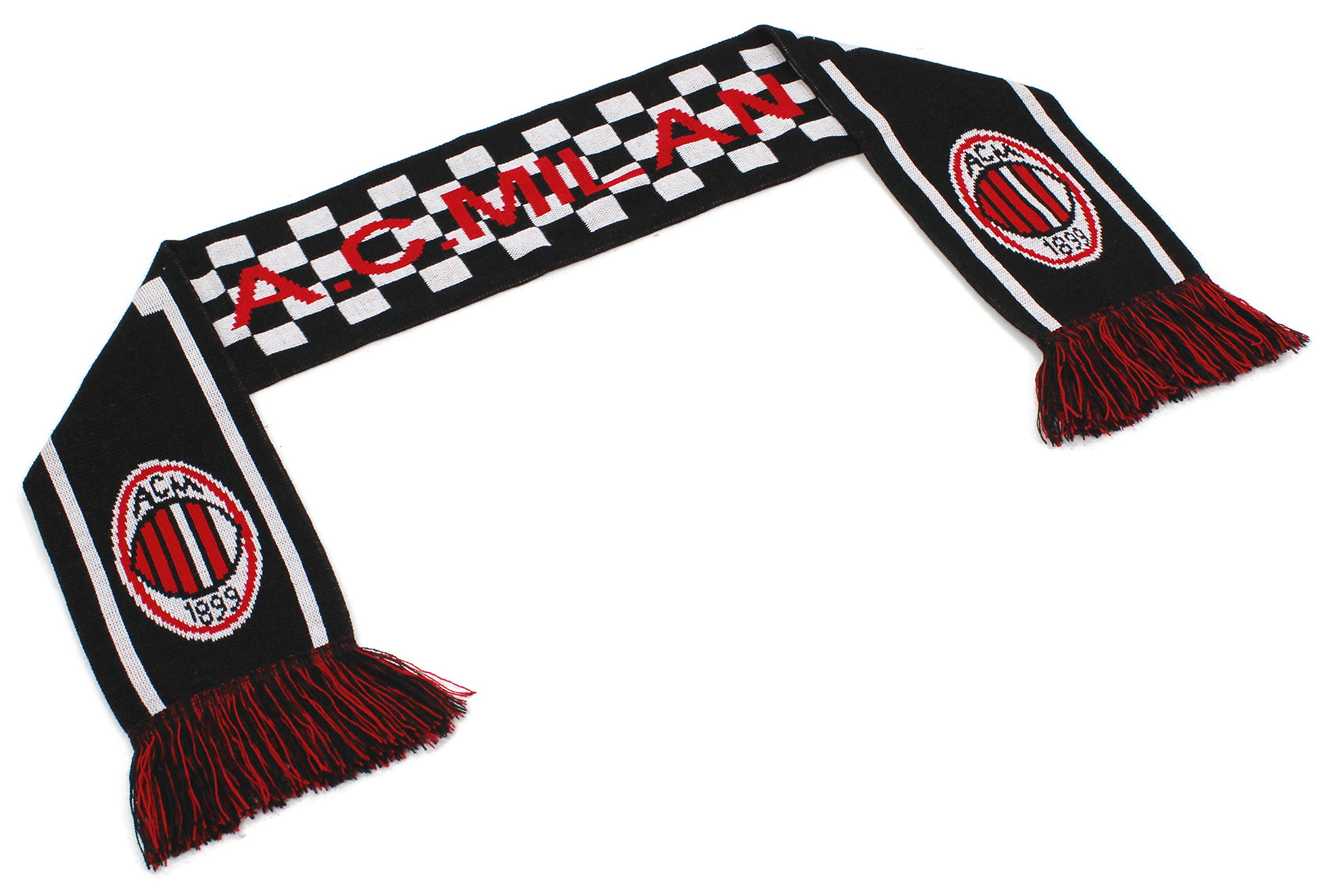 High End Hats ''Official World Soccer Team Scarf Collection'' Double Weave Head Scarf for Men or Women, A C Milan with Logo, Black Red