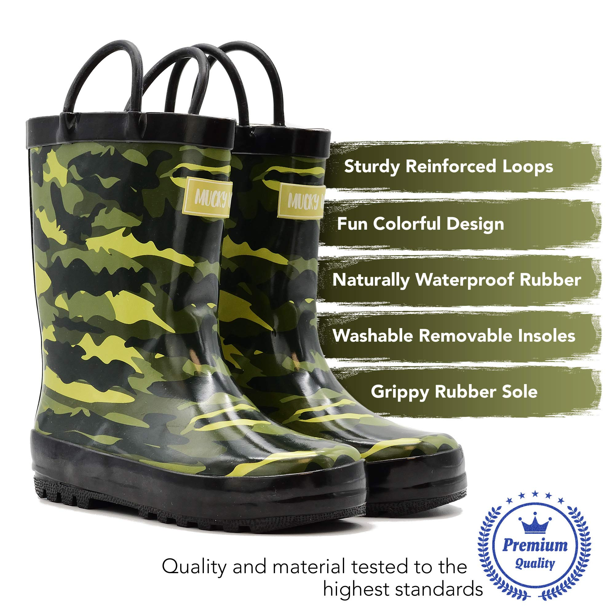 Mucky Wear Children's Rubber Rain Boot, Army Camo, 2Y US Big Kid