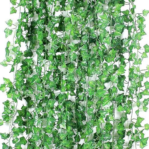 GoMaihe Hiedra Artificial Guirnalda Planta 24pcs, Plantas Artificiales Decoracion, Plantas Artificiales Exterior y Interior, Decoración de Navidad Fondo Boda Decoración de Jardín de Pared, Verde: Amazon.es: Hogar