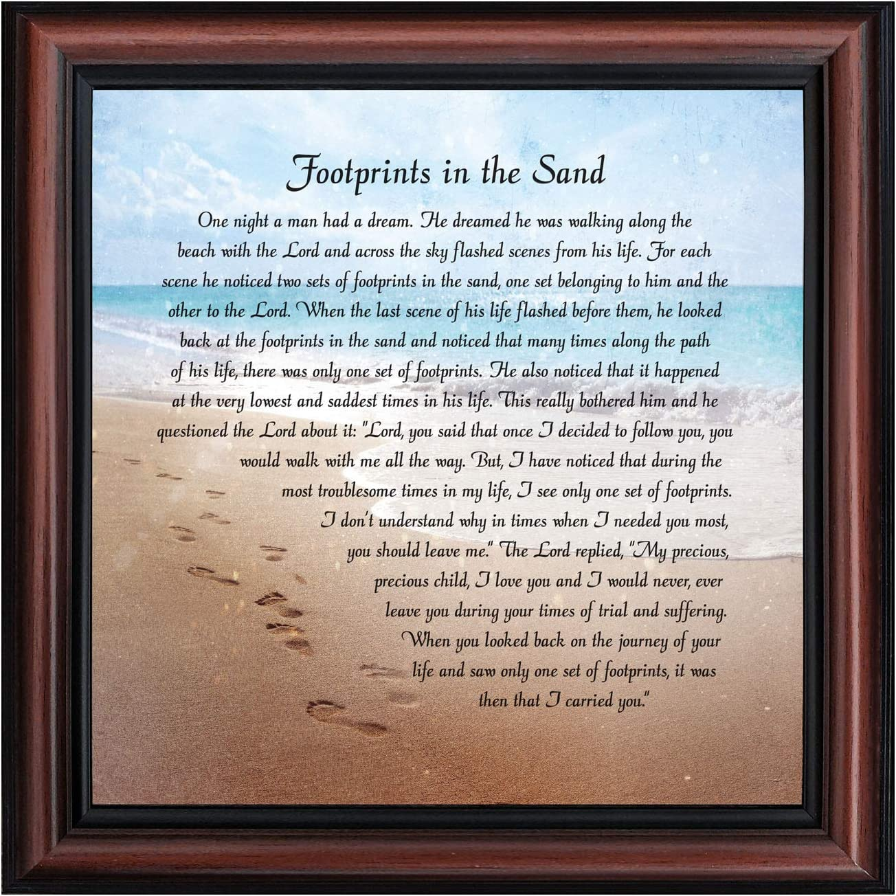 Footprints in The Sand Inspirational Wall Art, Beach Decor, Christian Gifts for Women and Men, Christian Wall Decor, Get Well Soon, Encouraging Scripture Wall Art, Framed Sympathy Gift 8639W