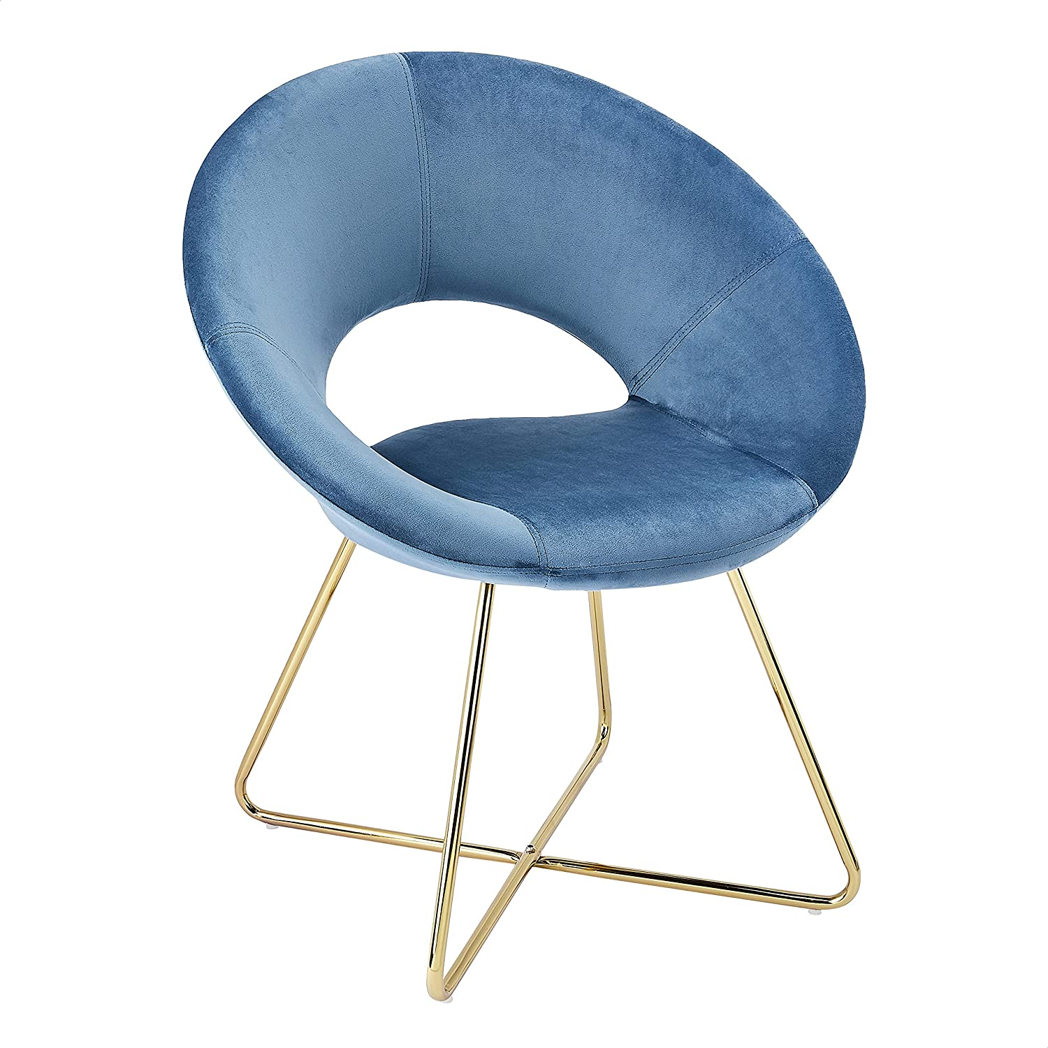 CangLong Modern Velvet Accent Chairs Upholstered Chairs Make-up Stool Home Office Guest Reception Chairs Dining Chair Leisure Lounge Chairs with Golden Legs Set of 1,Blue (KU-191336)