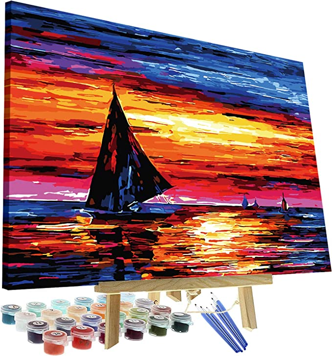 Paint By Numbers Adults kids Sunset Harbour Boat DIY Painting Kit 40x50CM Canvas