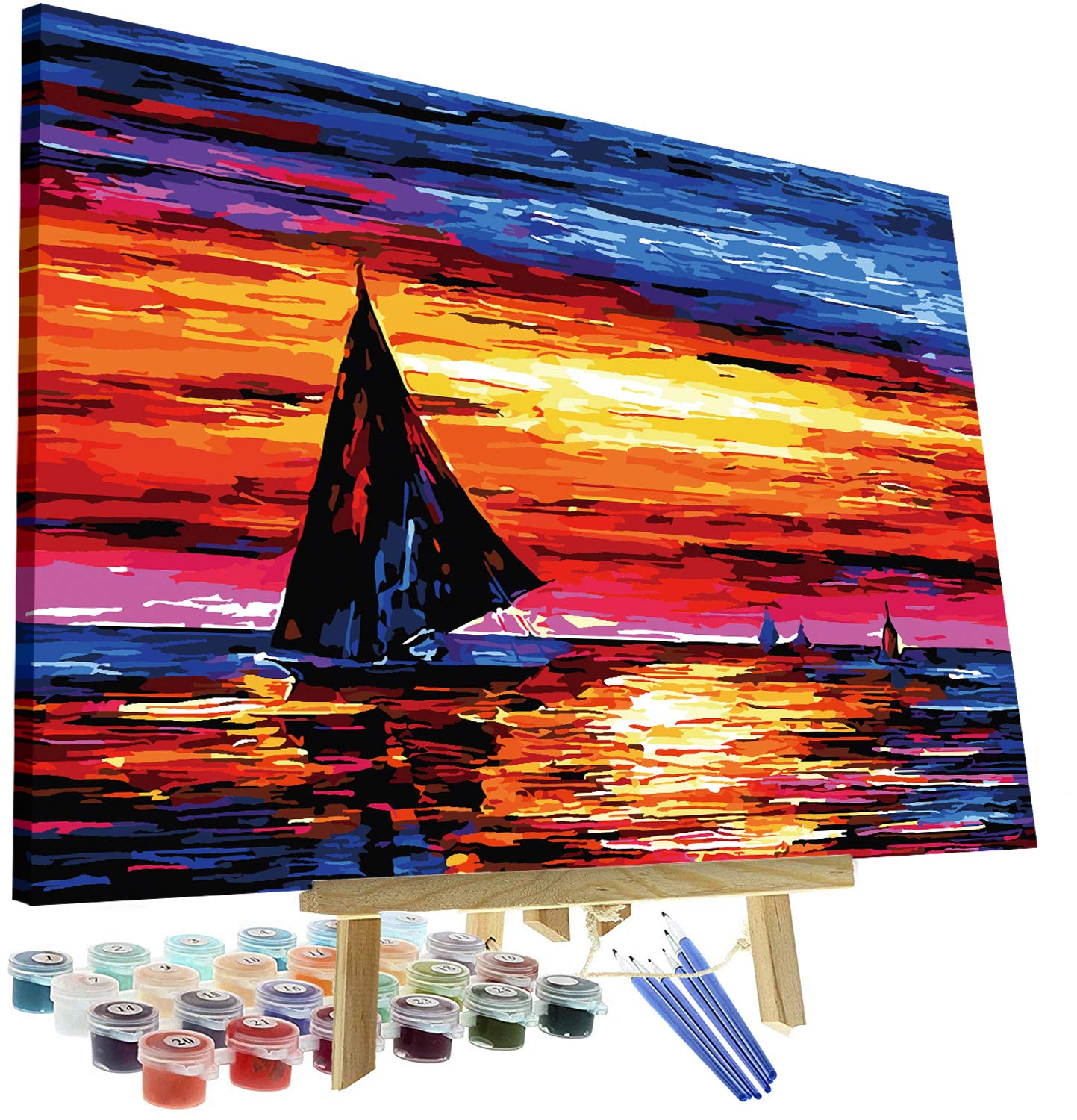 "DIY Oil Painting Paint by Numbers Kit for Adults Kids Beginner - Sailboat Sunset 12""x16"" with Wooden Frame and Easel"