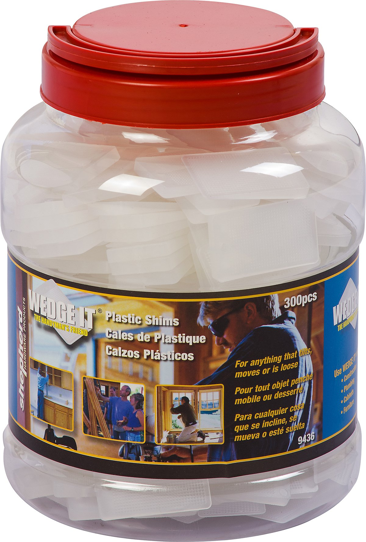 Shepherd Hardware 9436 Wedge-It Plastic Shims, 300-Pack Jar