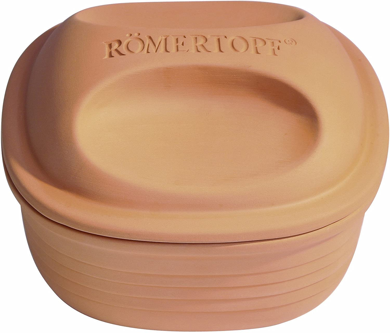 Romertopf by Reston Lloyd Natural Glazed Clay Cooker, Square Casserole, 2-Quart