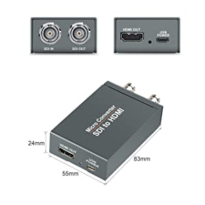 FERRISA Micro Converter SDI to HDMI(with Power Supply),3G-SDI/HD-SDI/SD-SDI to HDMI Converter Adapter,SDI in HDMI out SDI Loopout,1080P Video Audio Splitter,Support HDCP 1.3 for Camcorder Camera to TV (Color: SDI to HDMI)