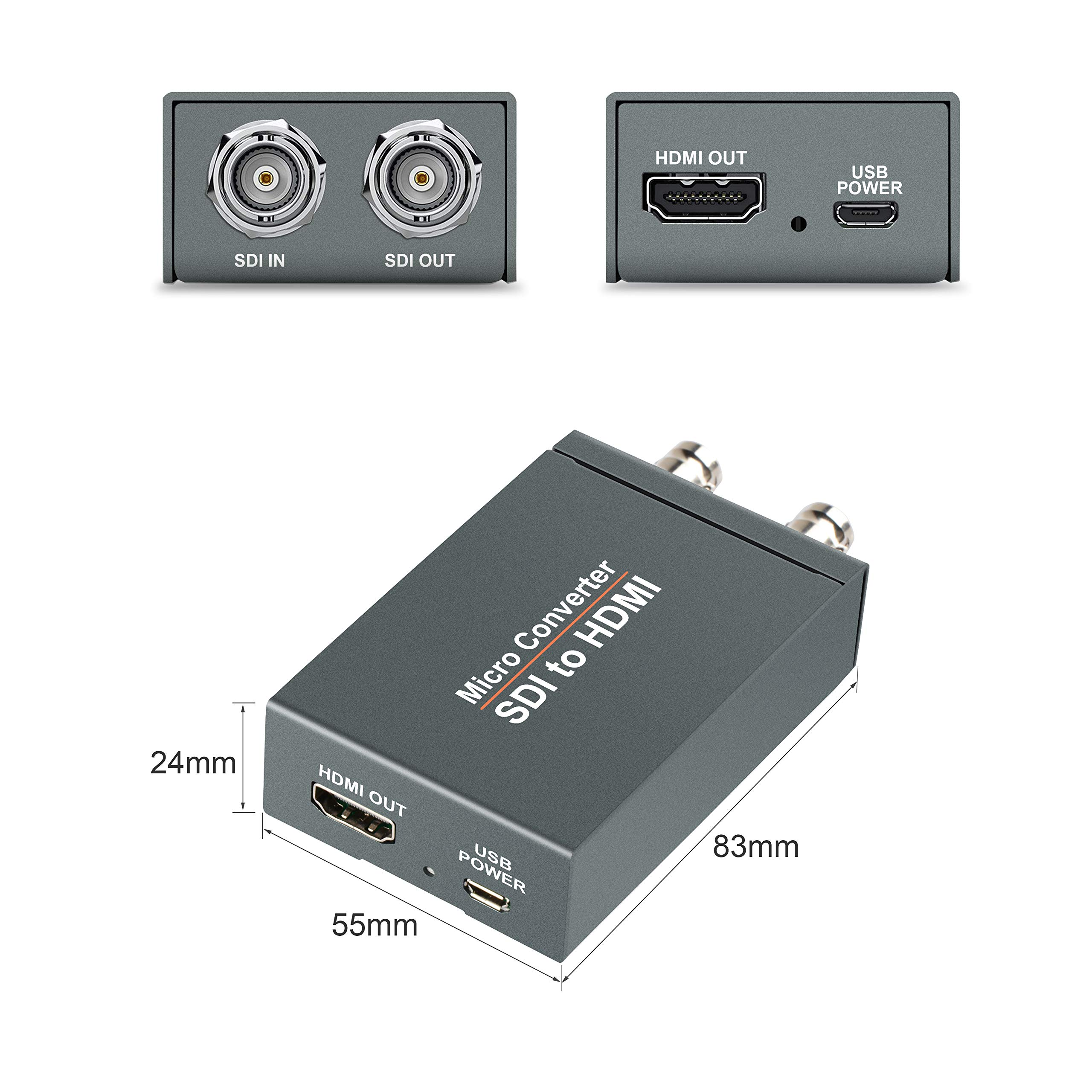 FERRISA Micro Converter SDI to HDMI(with Power Supply),3G-SDI/HD-SDI/SD-SDI to HDMI Converter Adapter,SDI in HDMI out SDI Loopout,1080P Video Audio Splitter,Support HDCP 1.3 for Camcorder Camera to TV by FERRISA (Image #6)