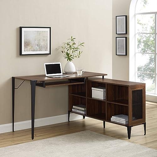 Walker Edison TAFT Urban Industrial Multi Level L Shaped Desk