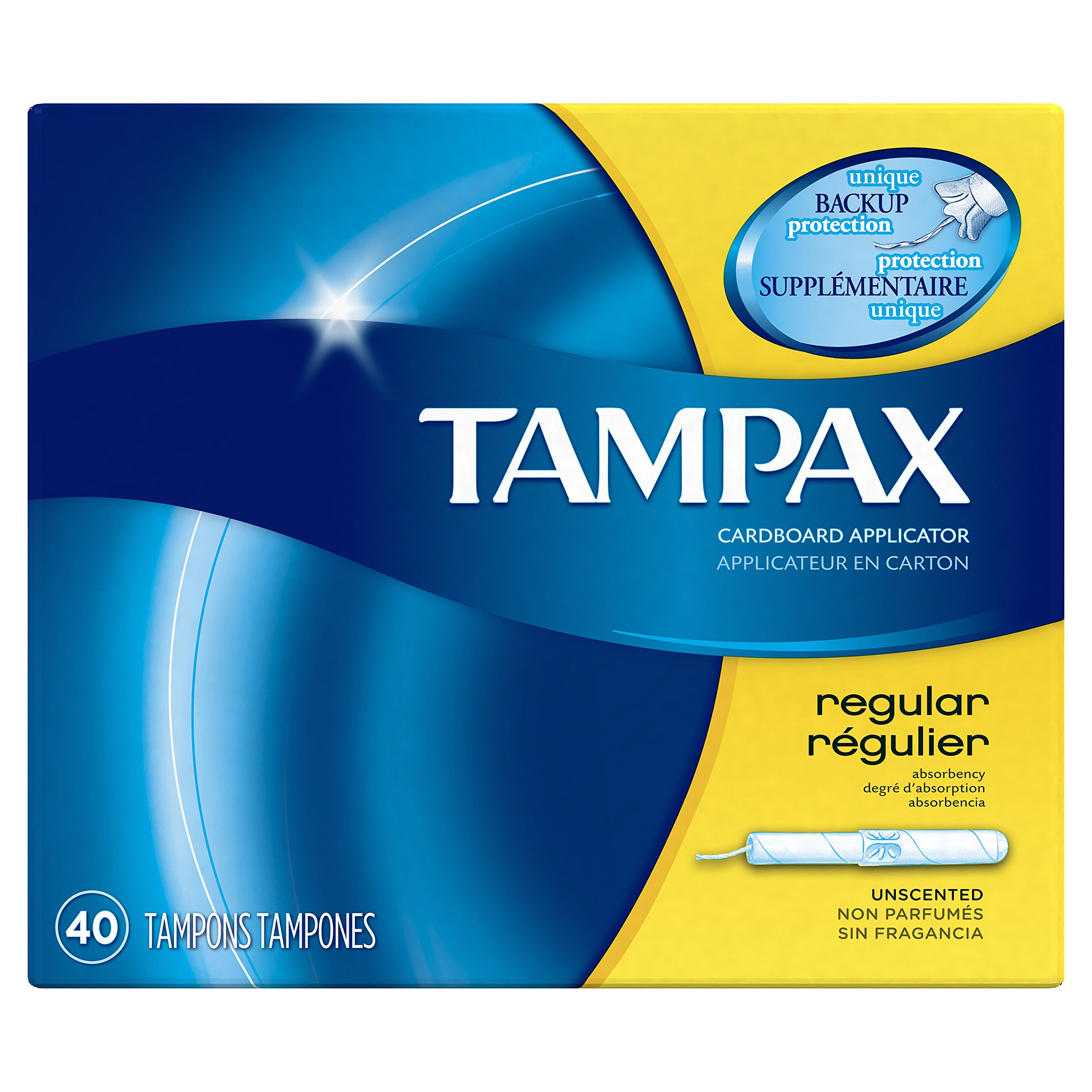 Tampax 12 Boxes Regular Absorbency Cardboard Tampons, Unscented, 480 Count