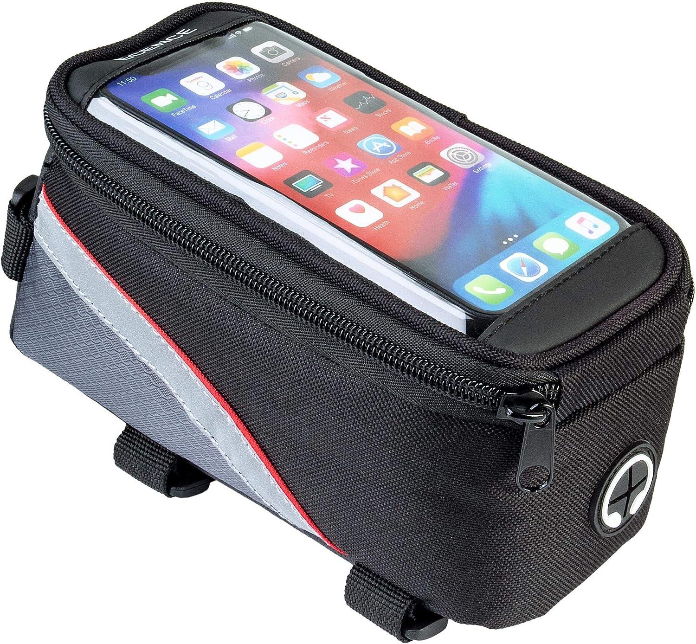ECENCE Bolsa para Cuadro de Bicicleta, con Visor para Smartphone, sujeción Impermeable para móvil, Superior para Objetos de Valor con Cierre con Velcro, Mucho Espacio, manejo Sencillo 43030102