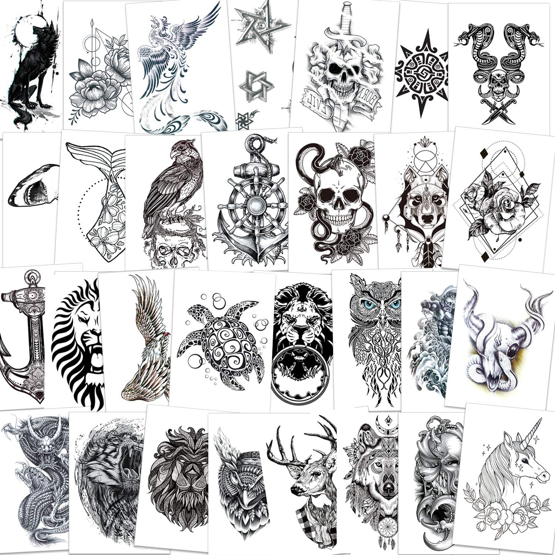 Qpout 30 Tatuajes Temporales de Brazo para Hombres/Mujeres, tatuajes de brazo negro a prueba de agua pegatina cráneo/lobo/mamba serpiente/búho/cabeza ...