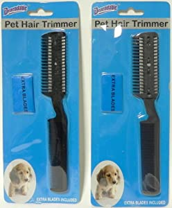 Dependable 2 Pack Manual Pet Hair Trimmer with Extra Blades and Comb Grooming Dog Cat Razor