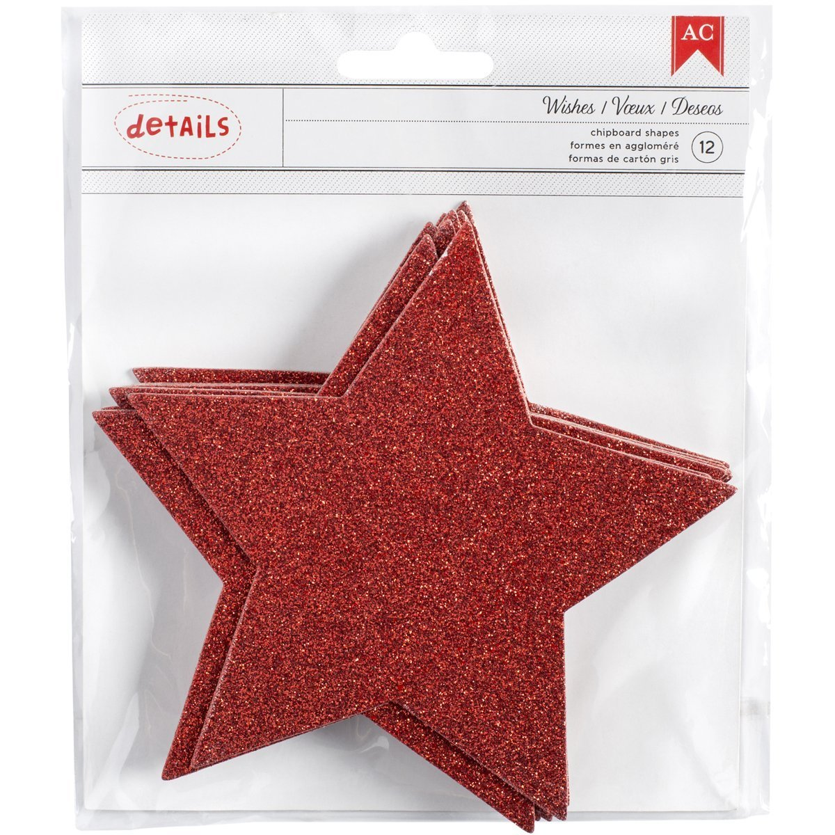 Red Glitter Chipboard Stars Deck The Halls (6 Pack)