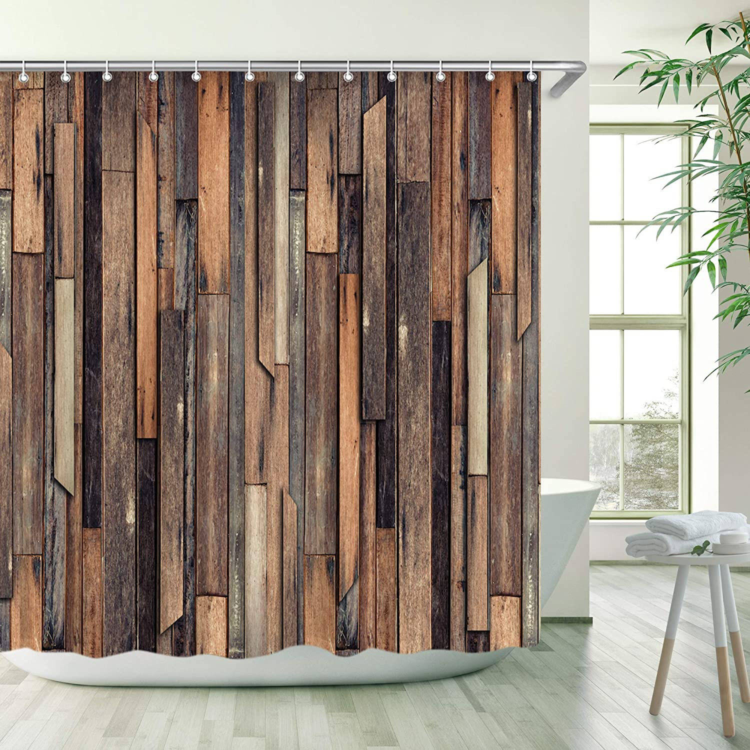 Stacy Fay Wooden Shower Curtain, Brown Old Hardwood Floor Planks Garage Fabric Bath Curtain Home Decoration with Hooks Rustic American Native Country Farm Style Artwork 72x72 Inches Machine Washable