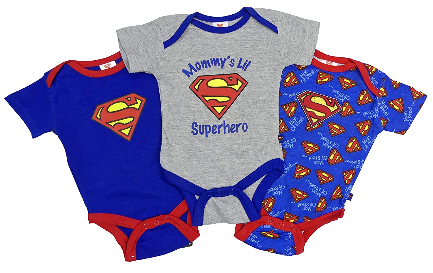 Childrens Character Superman Babies Three Pack Vests Popper Vests Underwear 0-3 Months