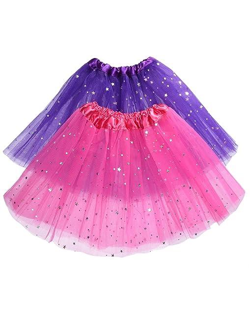 87536b966a985 Stelle Scintillante Tutu Gonna in 3 Strati Organza per Bambina Ragazza  Balletto Tulle