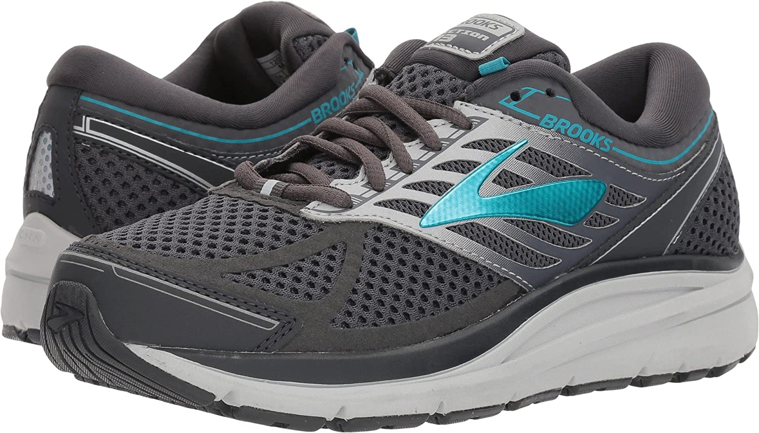 Brooks Womens Addiction 13 B072BPZMM2 7 D US|Ebony/Silver/Pagoda Blue