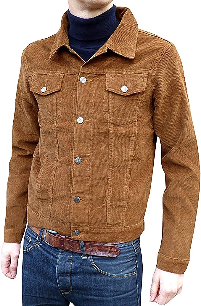 60s 70s Men's Jackets & Sweaters Fuzzdandy Retro Tobacco Tan Cord Corduroy Western Short Jacket 60s 70s £39.99 AT vintagedancer.com