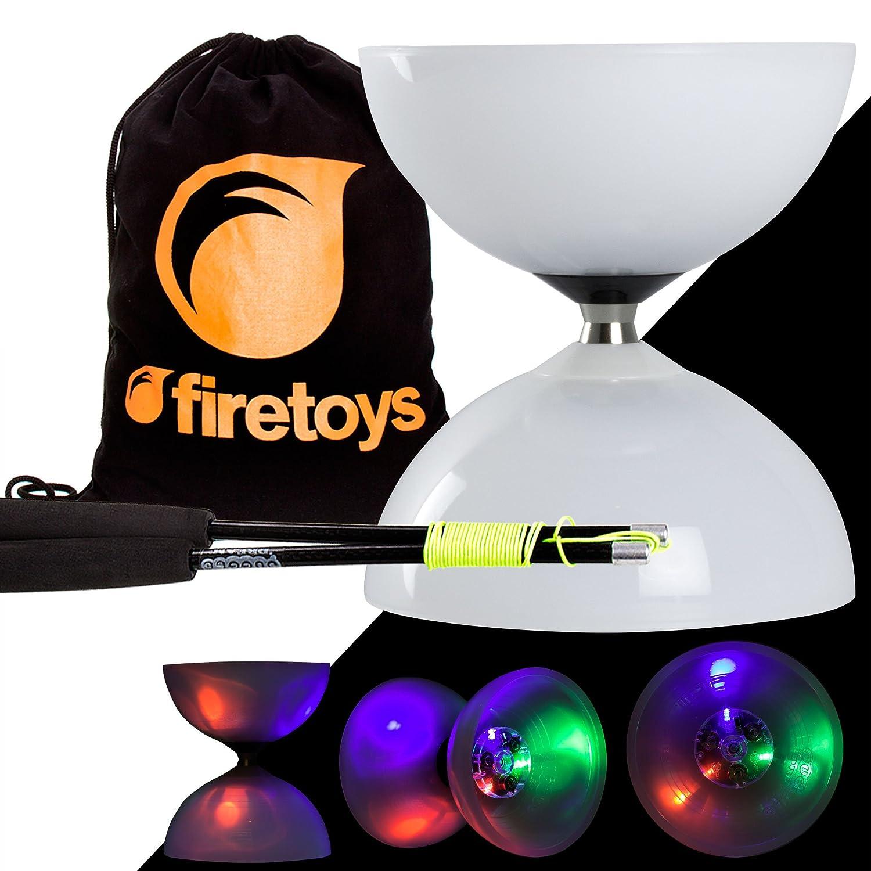 Select Couleur Piles incluses Juggle Dream LED Big Top Roulement Diabolo avec Baguettes Superglass Fibre Diablo et Firetoys Sac en Coton color/é b/âton