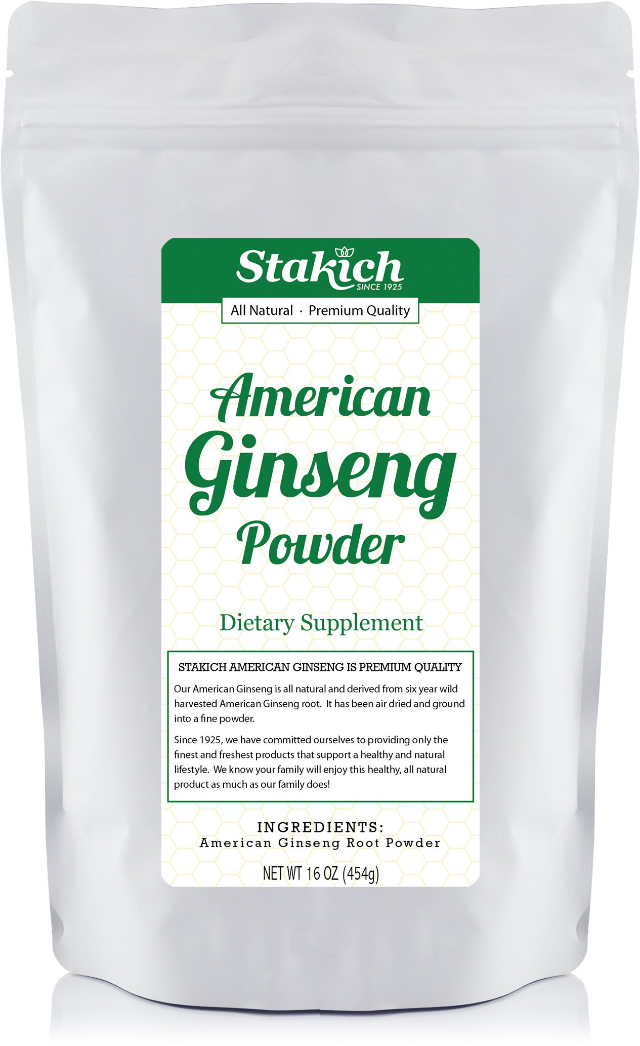Stakich American GINSENG ROOT POWDER 1 LB - 100% Pure, Premium Quality, High Potency -
