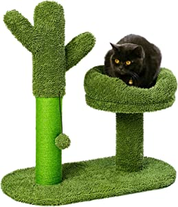 Catcus Cat Scratching Post Tree with Play Ball and Bed Green-Cactus Cat Scratcher Protect Your Furniture with Natural Sisal Scratching Posts Pads and Bed