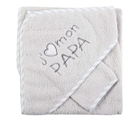 FC ESHOP - Sortie de bain jaime mon papa + gant gris bébé -