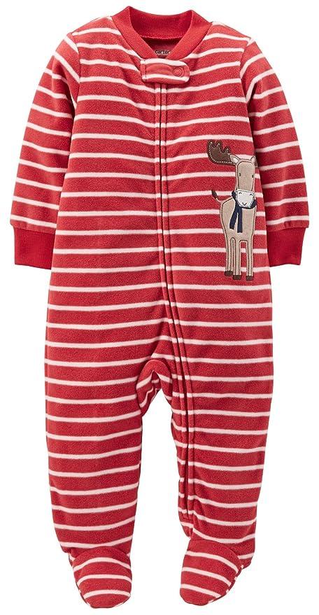 e00086ccdecd Carters Sleep N Play Fleece Footie (Baby) - Moose-Newborn  Amazon.in ...