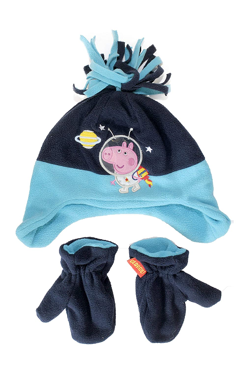 Official Licensed Peppa Pig George Winter Fleece Beanie Hat And Mittens Age 1-3 Years Space Design