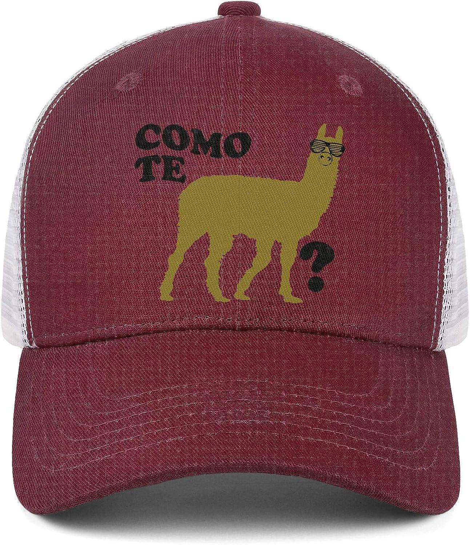 Llama Como Te Men Or Women Comfortable Atmospheric Baseball Mesh Cap