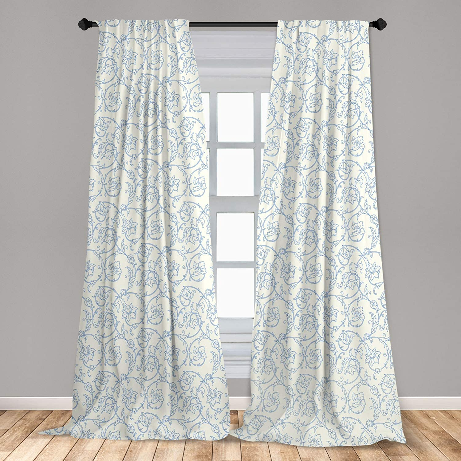 """Ambesonne Floral Curtains, Flower Orchids Bohemian Style Vintage Petals Vines Pattern French Country Style, Window Treatments 2 Panel Set for Living Room Bedroom Decor, 56"""" x 95"""", White Blue"""