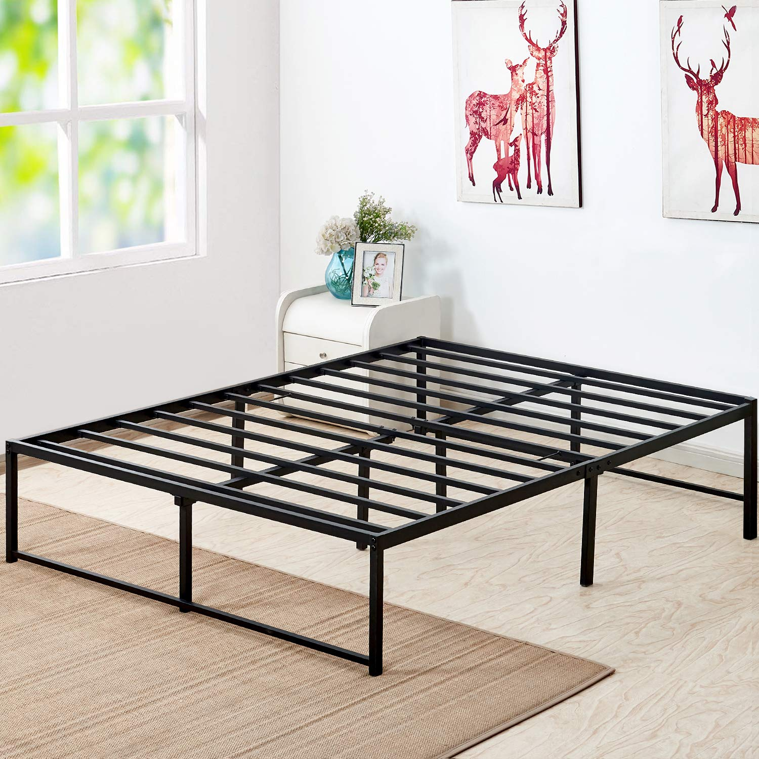 VECELO 14 Inch Platform Bed Frame/Mattress Foundation/No No Box Spring Needed/Steel Slat Support (Queen Size), Black by VECELO