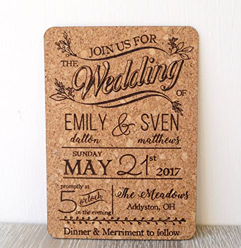 Amazoncom Rustic cork wedding invitation wedding invites natural