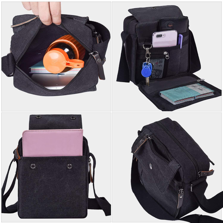 Mens Multifunction Canvas Crossbody Shoulder Bag Outdoor Travel Small Satchel Bag,Multi-Pocket Purse Handbag Organizer Bag,Black by dealcase (Image #1)
