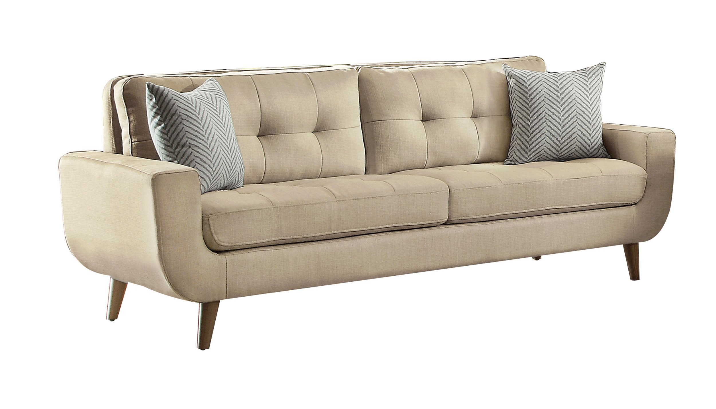Homelegance Deryn Mid-Century Modern Sofa with Tufted Back and Two Herringbone Throw Pillows, Beige