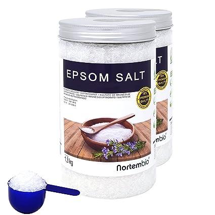 Nortembio Sal de Epsom 2x1,3 kg, Fuente concentrada de Magnesio, Sales 100