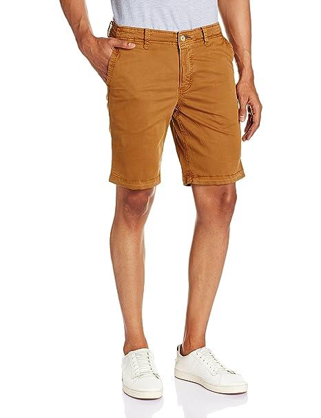 Basics Hombre Plain Flatfront Shorts Deportivos Morena Media 42: Amazon.es: Ropa y accesorios