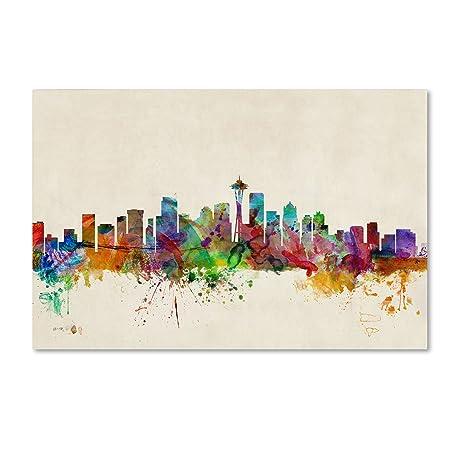 Seattle, Washington by Michael Tompsett, 30 by 47-Inch Canvas Wall Art